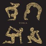Weibliche Schattenbilder der Spitzes eingestellt Yogalogoelemente Lizenzfreies Stockbild