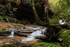 Weibliche Stellung auf Erforschungswasserfällen des Baumstammes in der üppigen Wildnis lizenzfreie stockfotografie