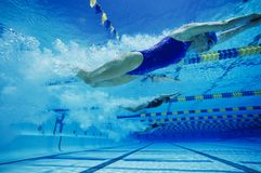 Weibliche Teilnehmer, die Underwater schwimmen lizenzfreies stockbild