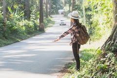 Weibliche Touristen mit Rucksäcken warten auf Busse in der Landschaft mit Bäumen und schöner Natur lizenzfreies stockfoto