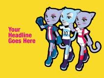Weibliche und männliche Katzencharaktere Karikatur redete Vektorillustration an Lizenzfreies Stockfoto