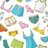 Weibliche und männliche Unterwäsche-nahtloses Muster Lizenzfreies Stockfoto