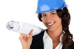 Weibliche Unternehmerholdingpläne Stockbild