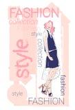 Weibliche vorbildliche Wear Fashion Clothes-Sammlung lizenzfreie abbildung