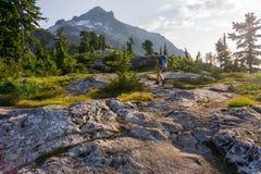 Weibliche Wandererfreie natur Lizenzfreie Stockfotos