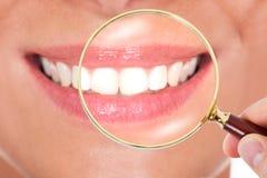 Weibliche Zähne überprüft mit Lupe Lizenzfreies Stockbild