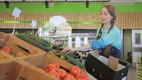 Weiblicher Angestellter setzt grüne Gurken auf Zähler in Speicher zuhause ein stock video footage