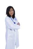 Weiblicher asiatischer Doktor mit Stethoskop stockfotografie