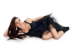 Weiblicher Balletttänzer im schwarzen Kleid Lizenzfreie Stockfotografie
