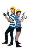 Weiblicher Bauarbeiter Stockfotos