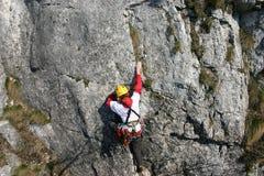 Weiblicher Bergsteiger Stockfotografie