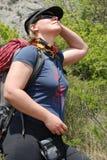 Weiblicher Bergsteiger Stockbild