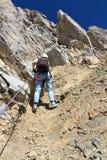 Dolomiti - Wanderer an über Ferrata Lizenzfreies Stockfoto