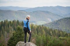 Weiblicher Bergsteiger auf der Spitze des Felsens mit kletternder Ausrüstung Stockbilder