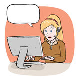 Weiblicher Betreiber mit Text Lizenzfreie Stockbilder