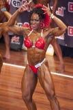 Weiblicher Bodybuilder im doppelten Bizeps werfen und roter Bikini auf Lizenzfreie Stockfotos