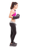 Weiblicher Boxer bereit zur Aktion Stockfoto