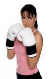 Weiblicher Boxer in der Kampf-Position Stockfoto