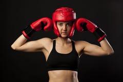 Weiblicher Boxer, Superfrauenkonzept lizenzfreies stockbild