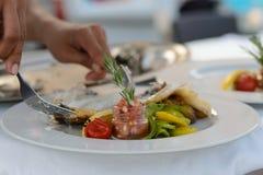 Weiblicher Chef beim Gaststätteküchekochen Lizenzfreie Stockfotografie