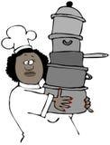 Weiblicher Chef, der einen Stapel Töpfe trägt lizenzfreie abbildung