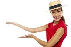 Weiblicher Chef, der Menü, Exemplarplatzkonzept darstellt Stockbild