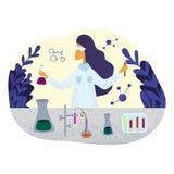 Weiblicher Chemikerwissenschaftler im Laborkittel, der Forschung im Labor tut stock abbildung