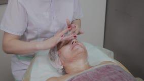 Weiblicher Cosmetologist, der Gesichtsmassage ältere Frau in der cosmetological Klinik antut stock video footage