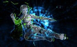 Weiblicher Cyborg auf Illustration techno Hintergrundes 3d Stockbilder