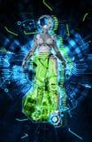 Weiblicher Cyborg auf Illustration techno Hintergrundes 3d Stockfotografie