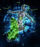 Weiblicher Cyborg auf Illustration techno Hintergrundes 3d Stockbild