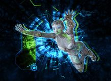 Weiblicher Cyborg auf Illustration techno Hintergrundes 3d Lizenzfreie Stockfotos