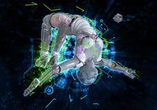 Weiblicher Cyborg auf Illustration techno Hintergrundes 3d vektor abbildung