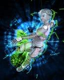 Weiblicher Cyborg auf Illustration techno Hintergrundes 3d Lizenzfreie Stockbilder