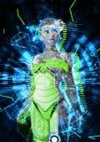 Weiblicher Cyborg auf Illustration techno Hintergrundes 3d Lizenzfreie Stockfotografie