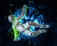 Weiblicher Cyborg auf Illustration techno Hintergrundes 3d Stockfoto