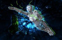 Weiblicher Cyborg auf Illustration techno Hintergrundes 3d Lizenzfreies Stockfoto