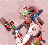 Weiblicher Cyborg in der Illustration der Collagenart 3d Stockbild