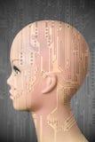 Weiblicher Cyborgkopf auf dunkelgrauem Hintergrund stockbilder