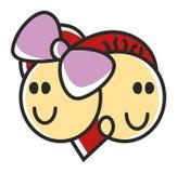 Weiblicher des lustigen Gekritzels romantischer und männlicher Kopf in Form von Herzen, Logoschablone Zu den Heiratagenturen Erei stock abbildung