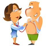 Weiblicher Doktor überprüft herauf einen Patienten. Stockfotos
