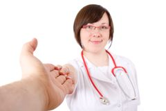 Weiblicher Doktor, andere Hand anhalten, nützlich Stockfotografie