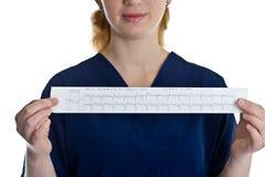 Weiblicher Doktor mit Cardiogram stockfotografie