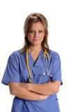 Weiblicher Doktor oder Krankenschwester mit Stethoskop Stockfoto