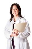 Weiblicher Doktorarzt mit Diagramm Stockbilder