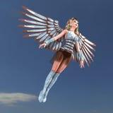 Weiblicher Fantasie-Engel mit sehr großen Flügeln Stockfotos