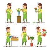 Weiblicher Florist Cartoon Set Frauen-Gartenarbeitblumen Stockfoto