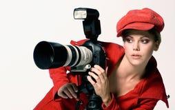 Weiblicher Fotograf Stockfotos