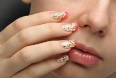 Weiblicher Gesichtsabschluß hoch und Nagelkunst Lizenzfreies Stockbild
