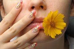 Weiblicher Gesichtsabschluß und Nagelkunst Stockbild